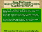 hebrew bible resource isaiah interprets his mission to israel as an anointed prophet
