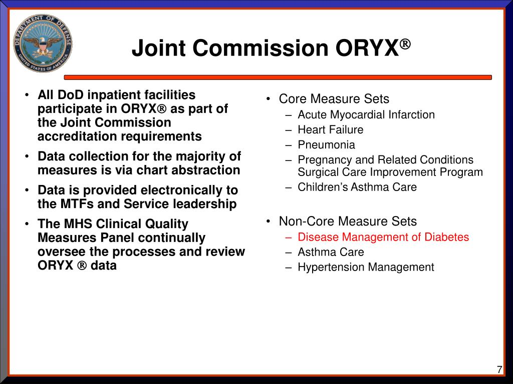 All DoD inpatient facilities  participate in ORYX