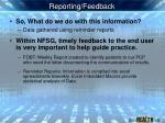 reporting feedback