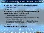 support terminology standardization fall 2008