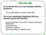 give the talk