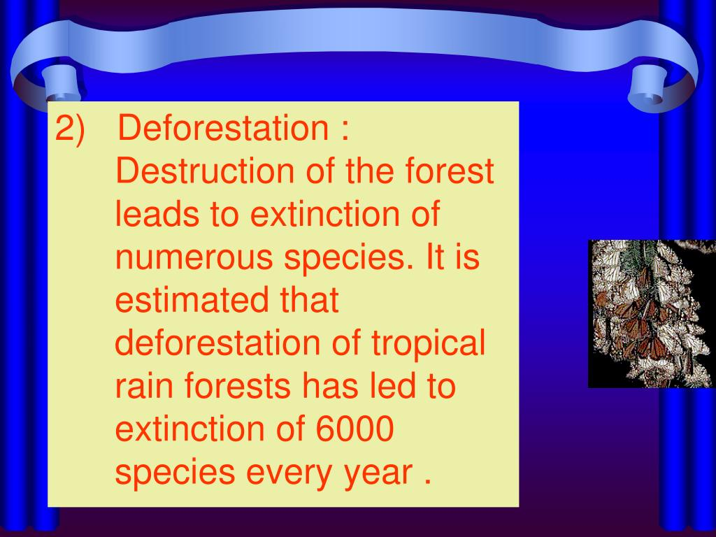 2)   Deforestation : Destruction of the forest leads to extinction of numerous species. It is estimated that deforestation of tropical rain forests has led to extinction of 6000 species every year .