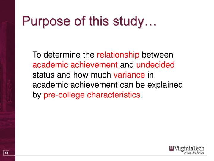 Purpose of this study…