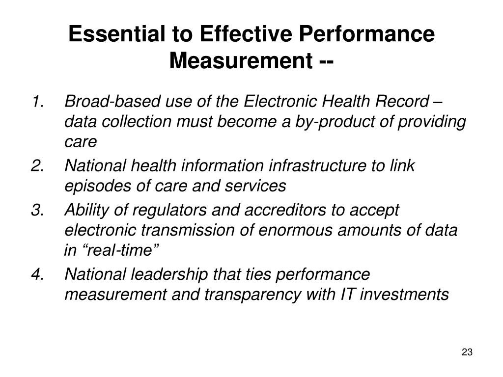 Essential to Effective Performance Measurement --