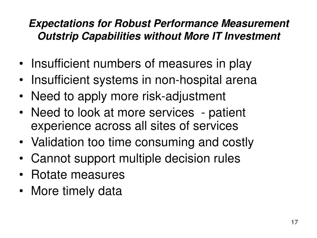 Expectations for Robust Performance