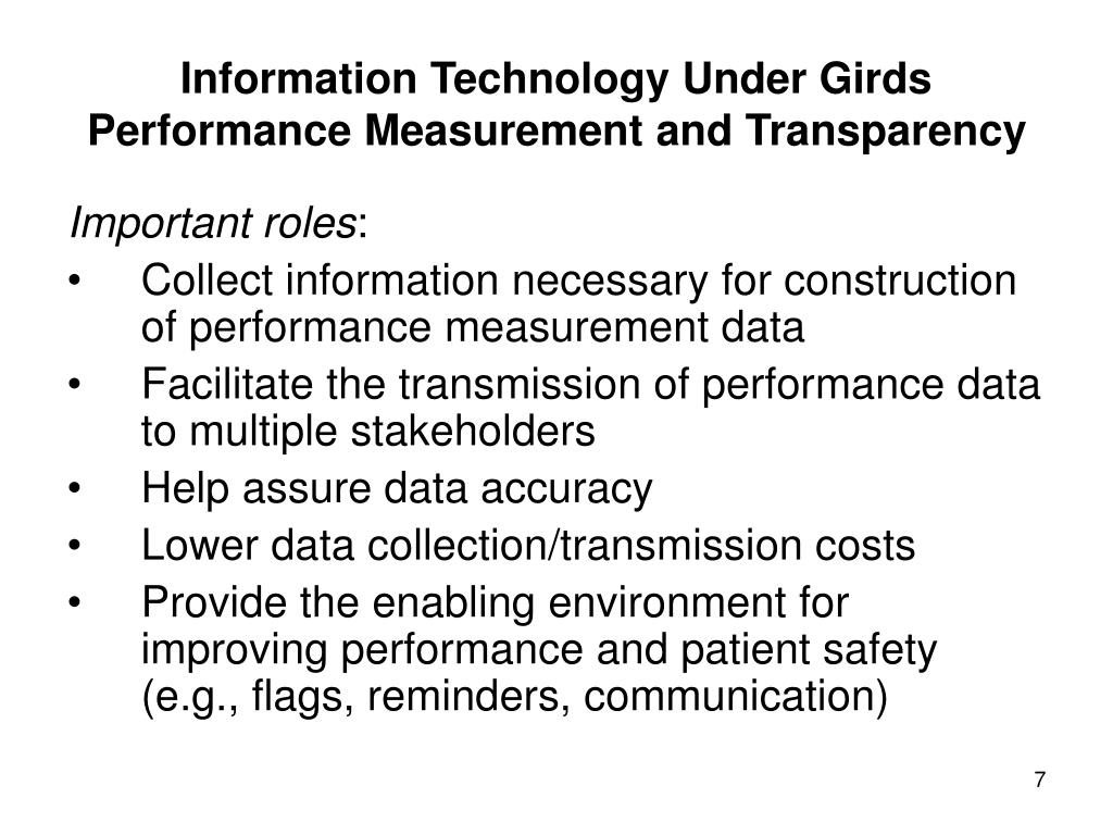 Information Technology Under Girds Performance Measurement and Transparency