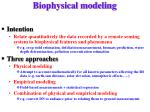 biophysical modeling
