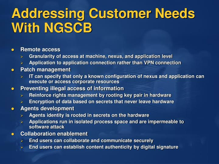 Addressing Customer Needs With NGSCB