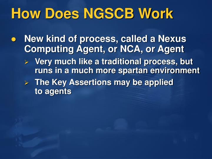 How Does NGSCB Work