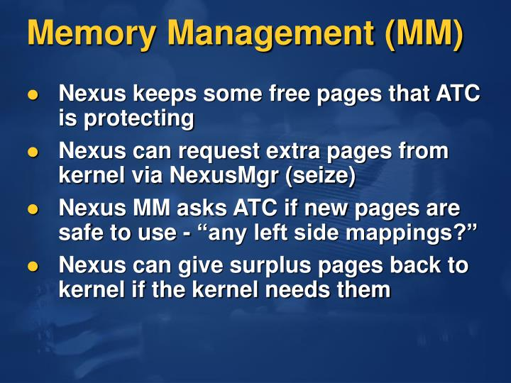Memory Management (MM)