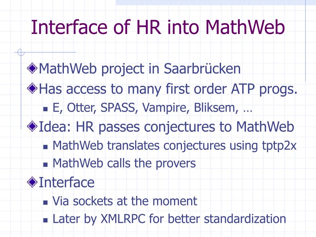 Interface of HR into MathWeb