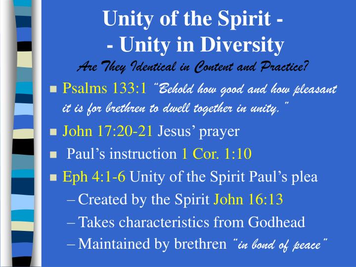 unity of the spirit unity in diversity are they identical in content and practice n.