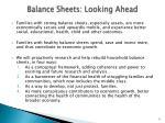 balance sheets looking ahead