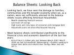 balance sheets looking back