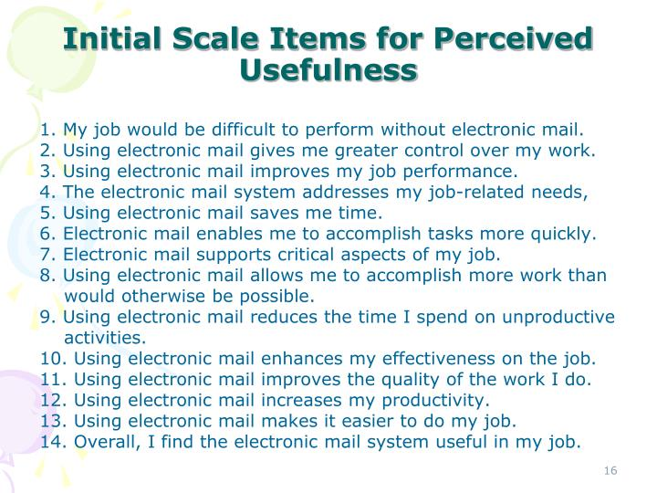 Initial Scale Items for Perceived Usefulness