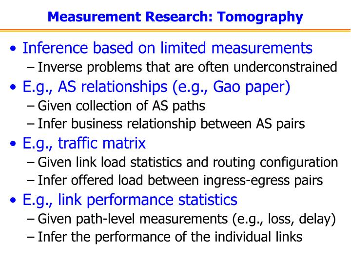 Measurement Research: Tomography