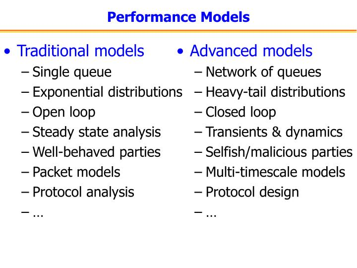 Traditional models