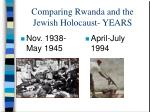comparing rwanda and the jewish holocaust years