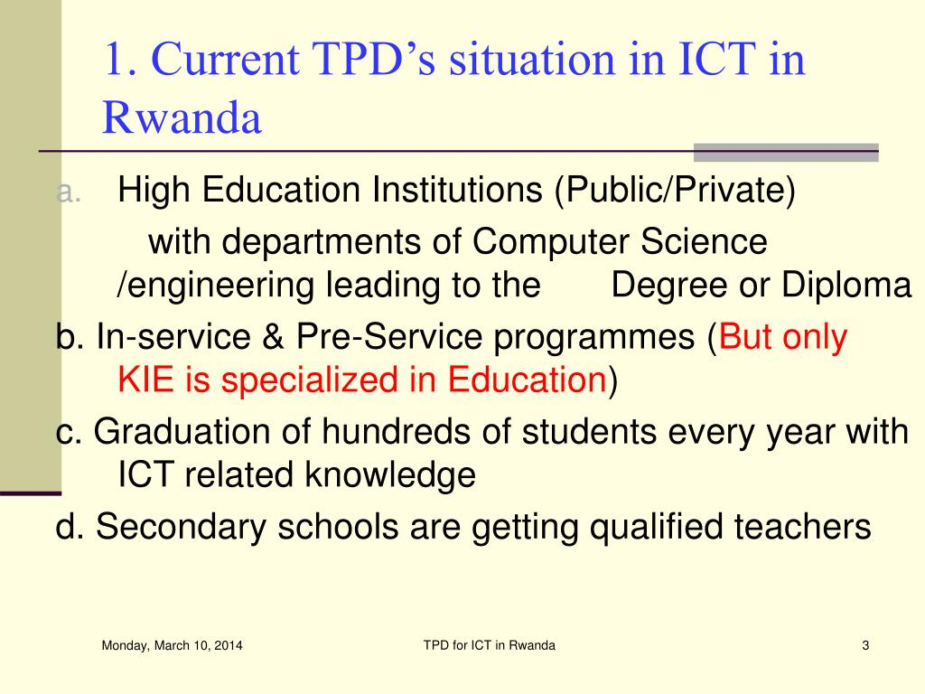 1. Current TPD's situation in ICT in  Rwanda