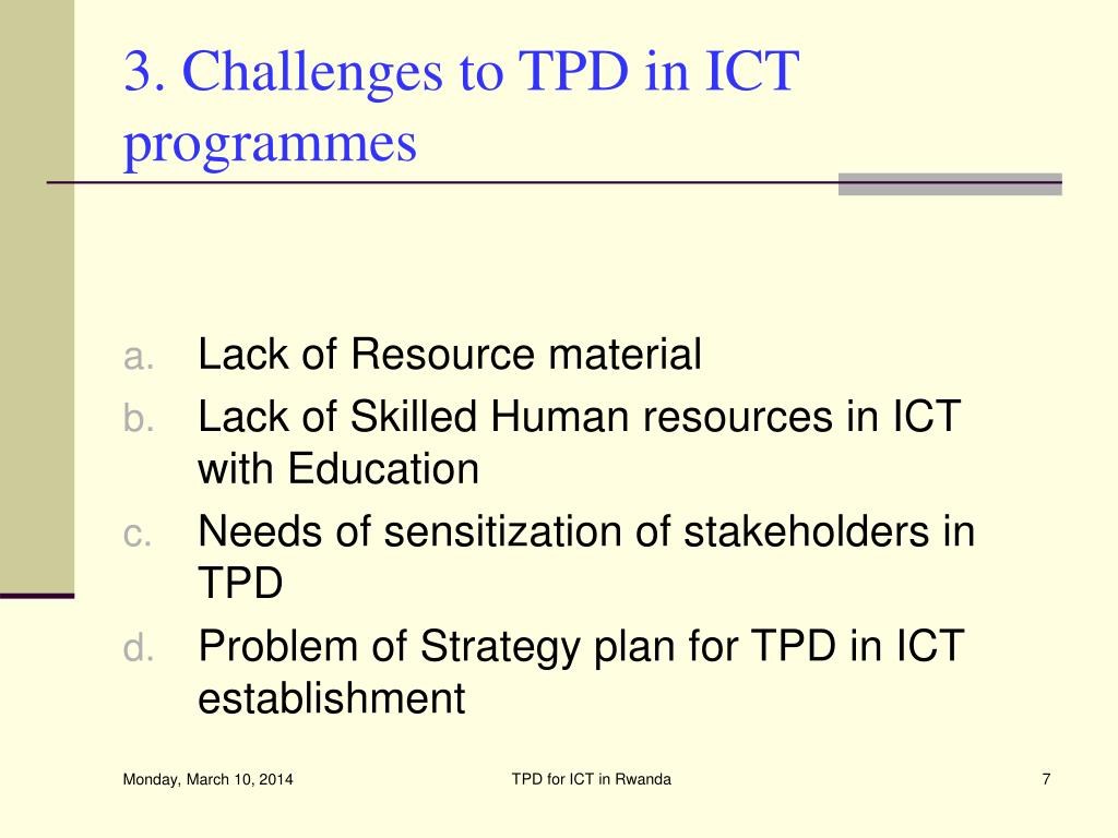 3. Challenges to TPD in ICT programmes