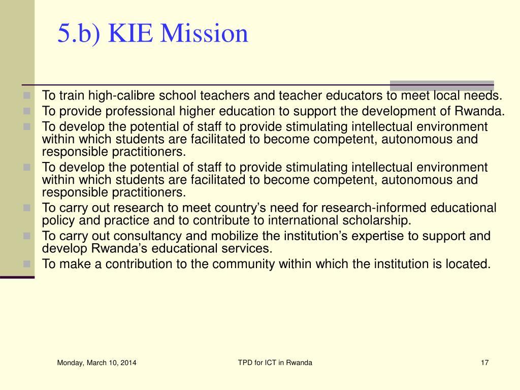 5.b) KIE Mission