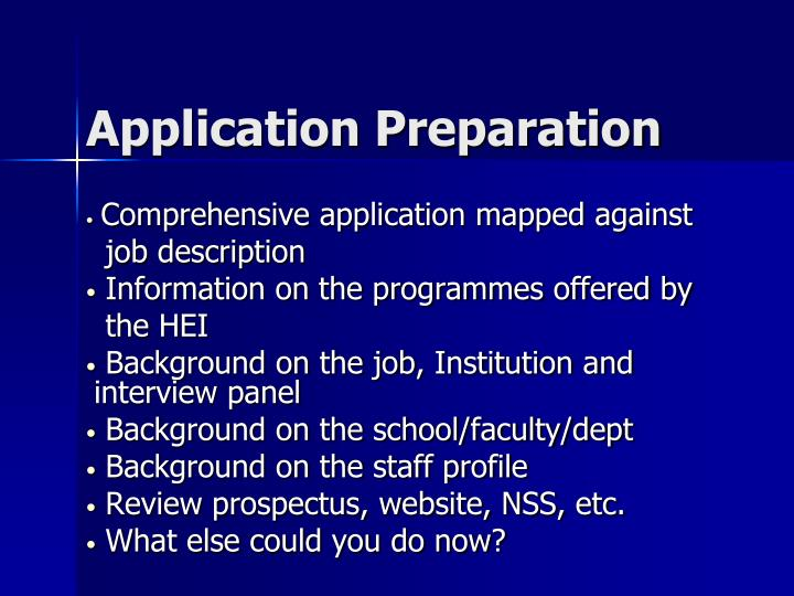 Application Preparation