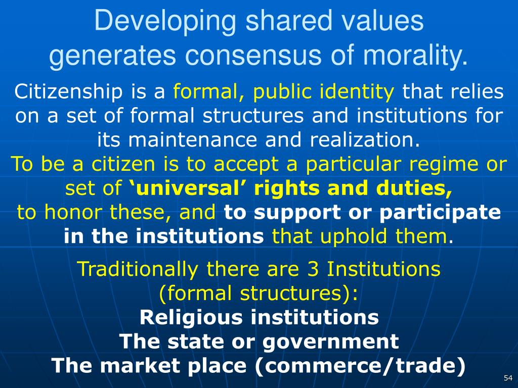 Developing shared values