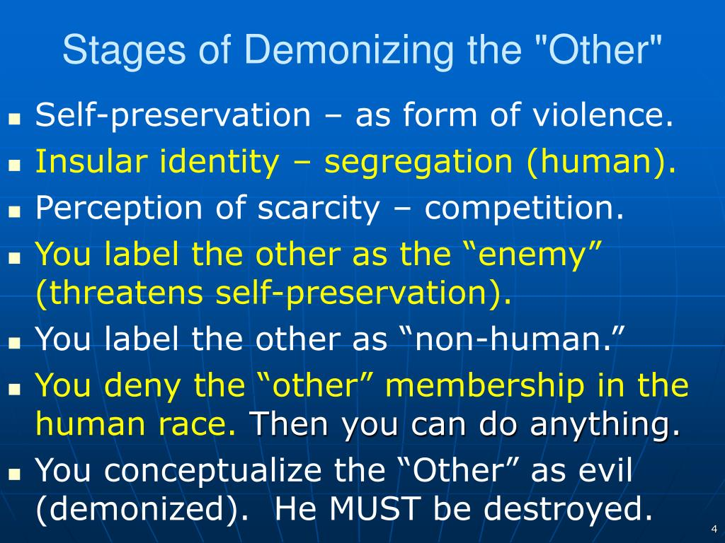 "Stages of Demonizing the ""Other"""