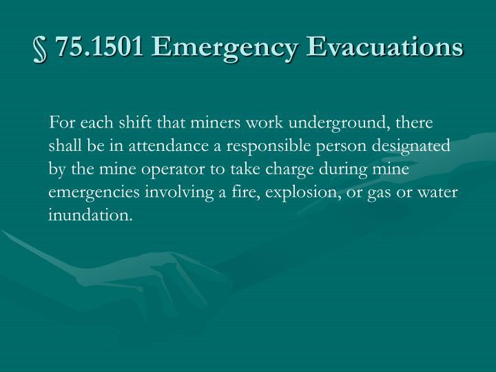 75 1501 emergency evacuations