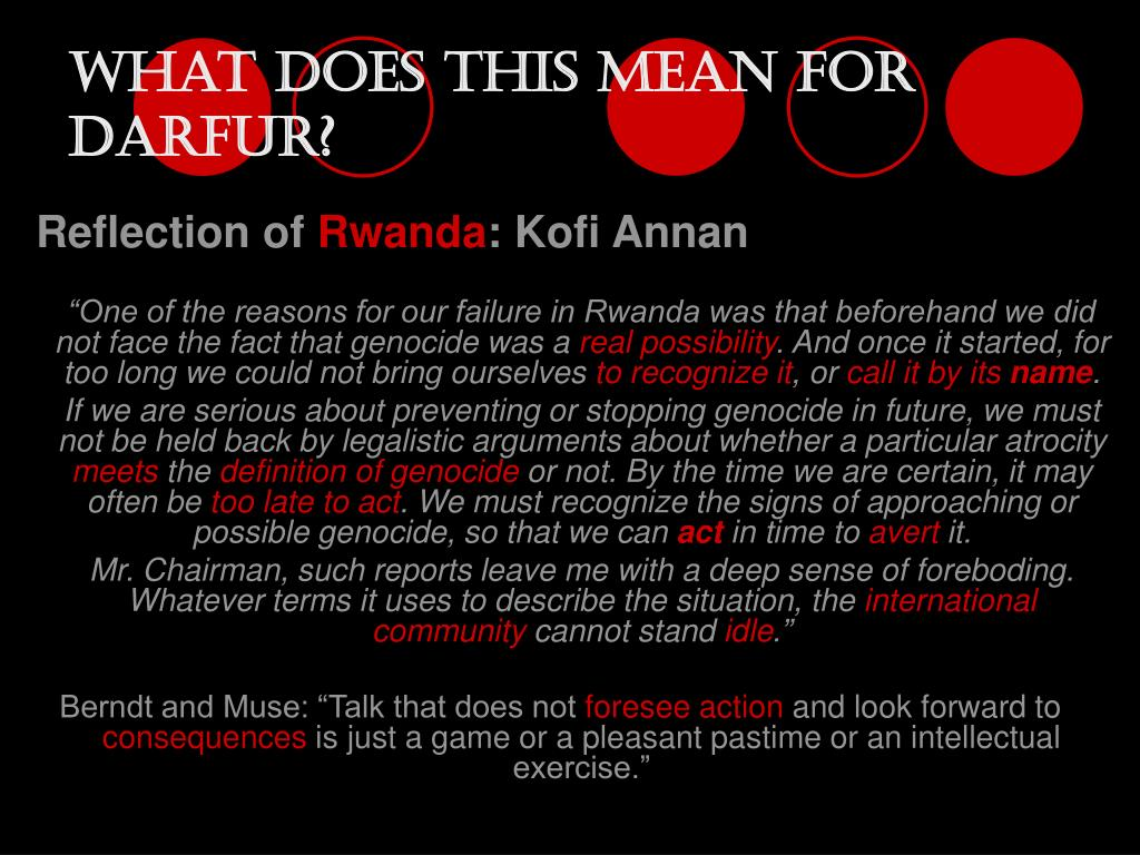 What does this mean for Darfur?
