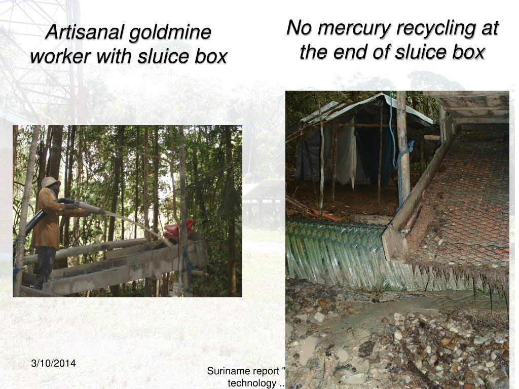 Artisanal goldmine worker with sluice box