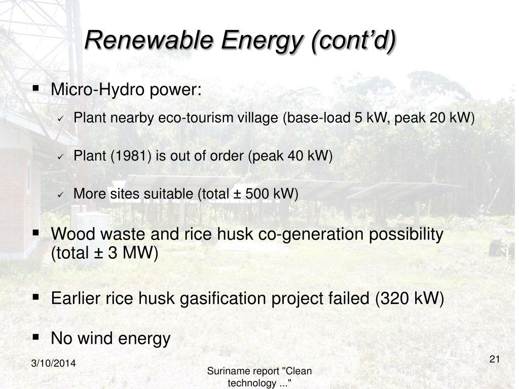 Renewable Energy (cont'd)