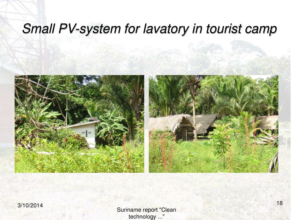 Small PV-system for lavatory in tourist camp