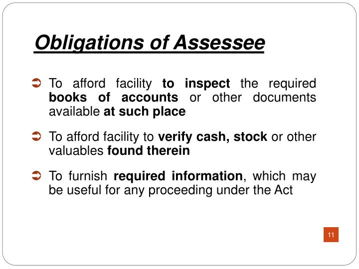 Obligations of Assessee