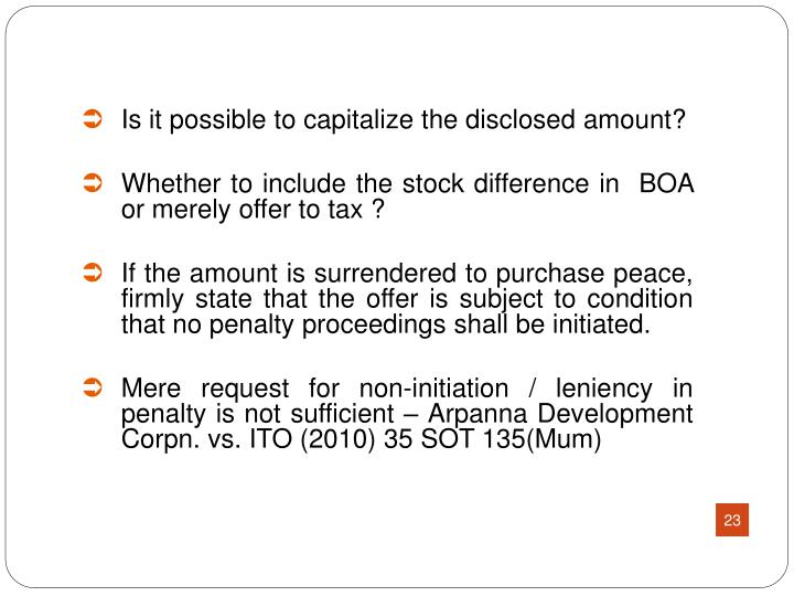 Is it possible to capitalize the disclosed amount?