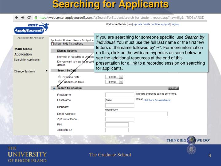 Searching for Applicants