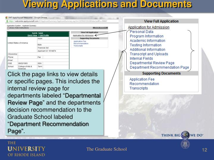 Viewing Applications and Documents