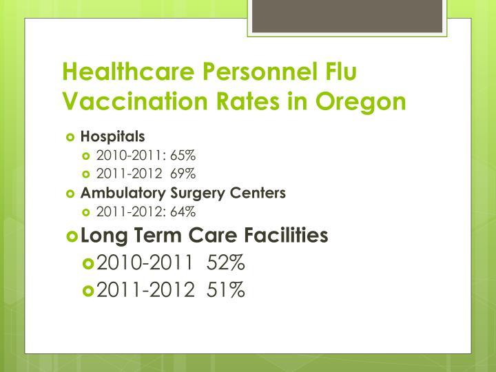 Healthcare Personnel Flu Vaccination Rates in Oregon