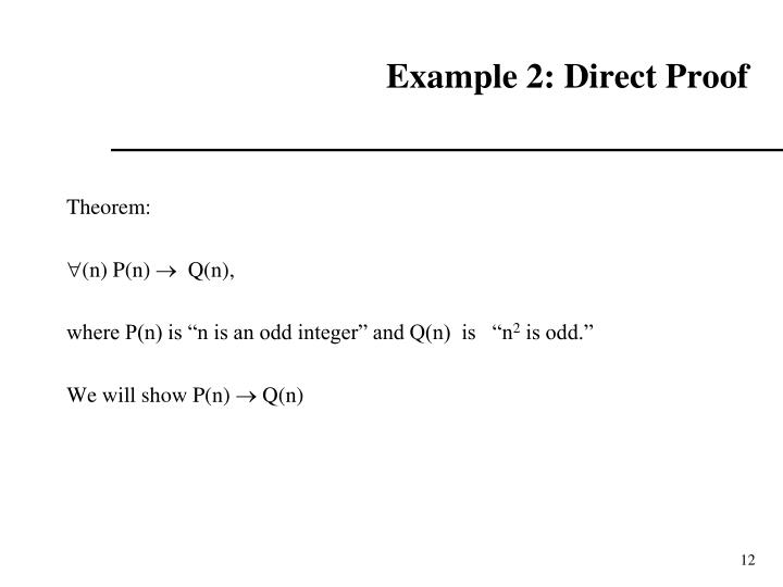 Example 2: Direct Proof