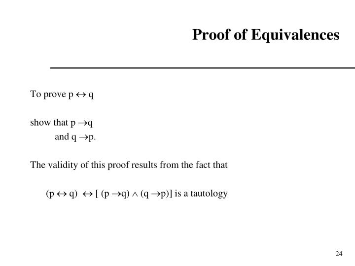 Proof of Equivalences