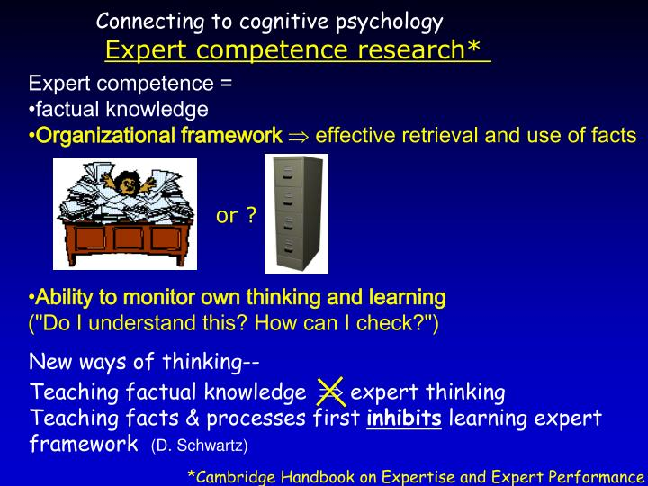 Connecting to cognitive psychology