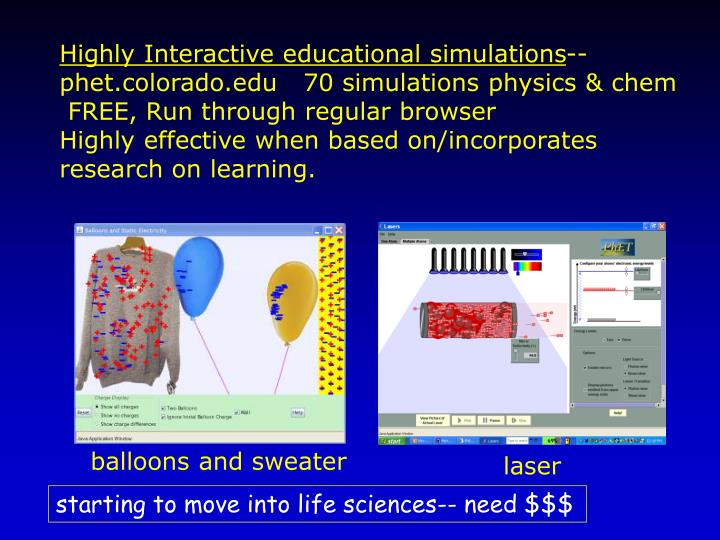 Highly Interactive educational simulations