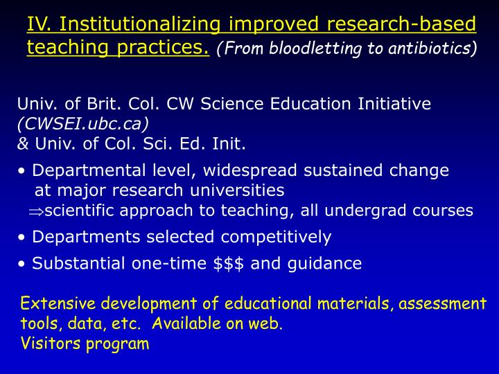 IV. Institutionalizing improved research-based