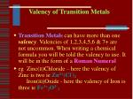 valency of transition metals