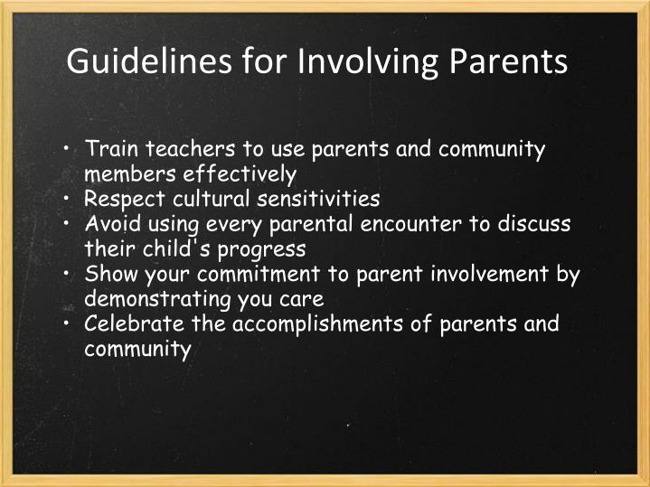 Guidelines for Involving Parents