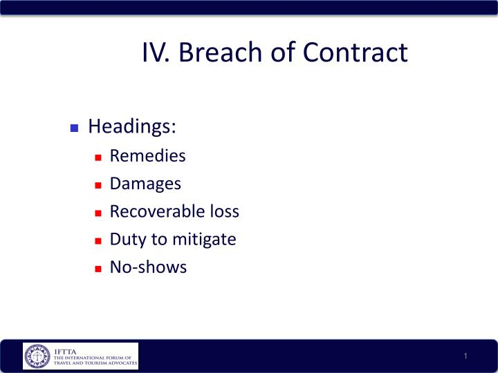 breach of contract research paper Introduction a breach of contract occurs when one of the parties fails to perform all or some of their obligations under the contract an award for damages, being monetary compensation, is the basic common law remedy for a breach of contract.