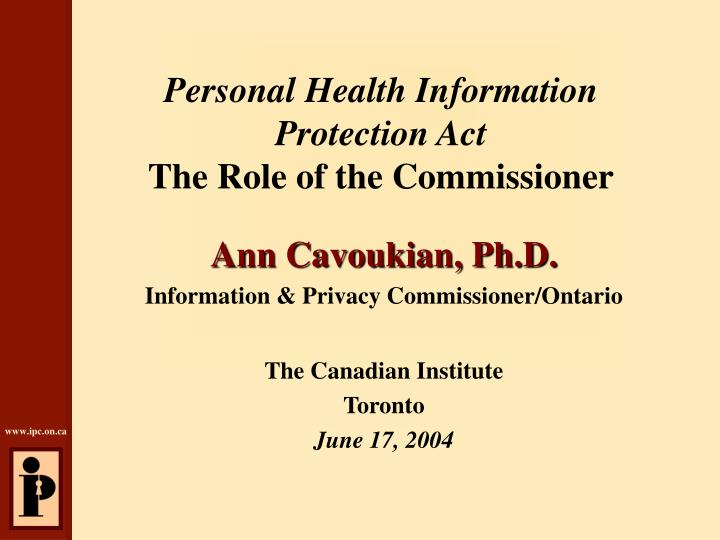 personal health information protection act the role of the commissioner n.