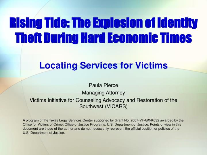 rising tide the explosion of identity theft during hard economic times n.