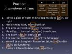 practice prepositions of time