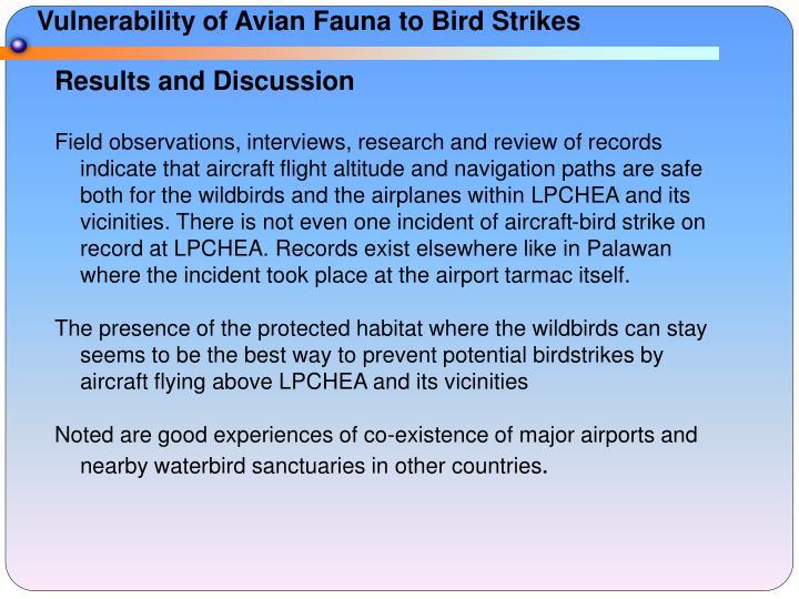 Vulnerability of Avian Fauna to Bird Strikes